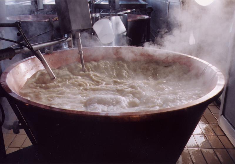 Cottura del latte per la produzione di Parmigiano Reggiano prodotto di montagna