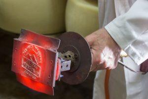 Marchio a fuoco del Parmigiano Reggiano Prodotto di Montagna