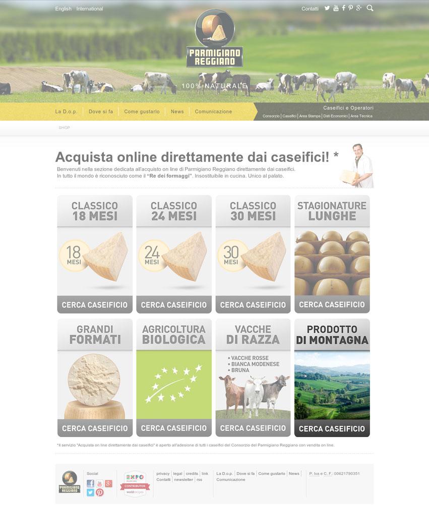 Pagina di ricerca latterie con vendita online sul sito del Consorzio del Parmigiano Reggiano